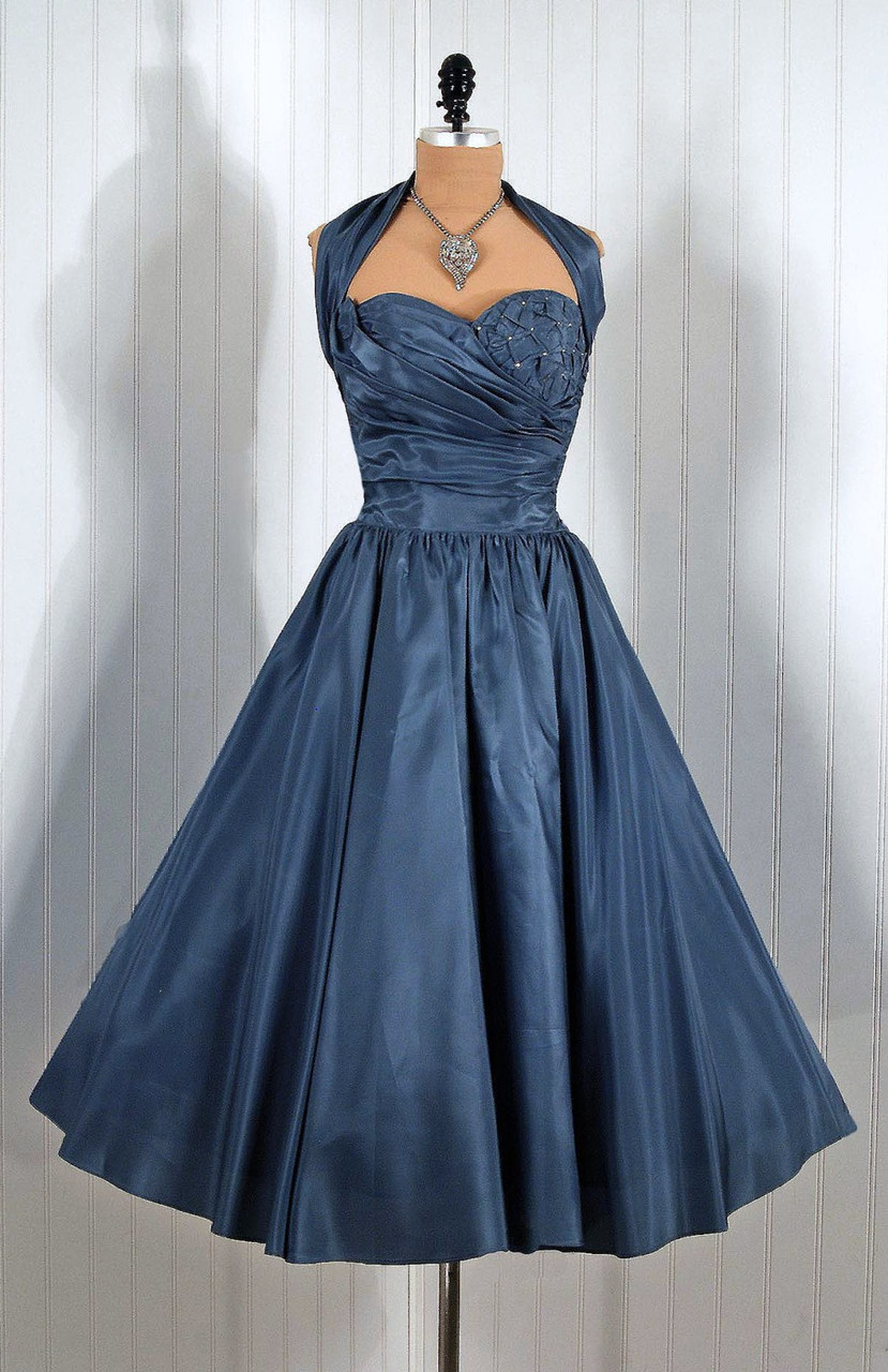 2016 Vintage Tea Length 1950s Ruched Taffeta Wedding Dresses ...