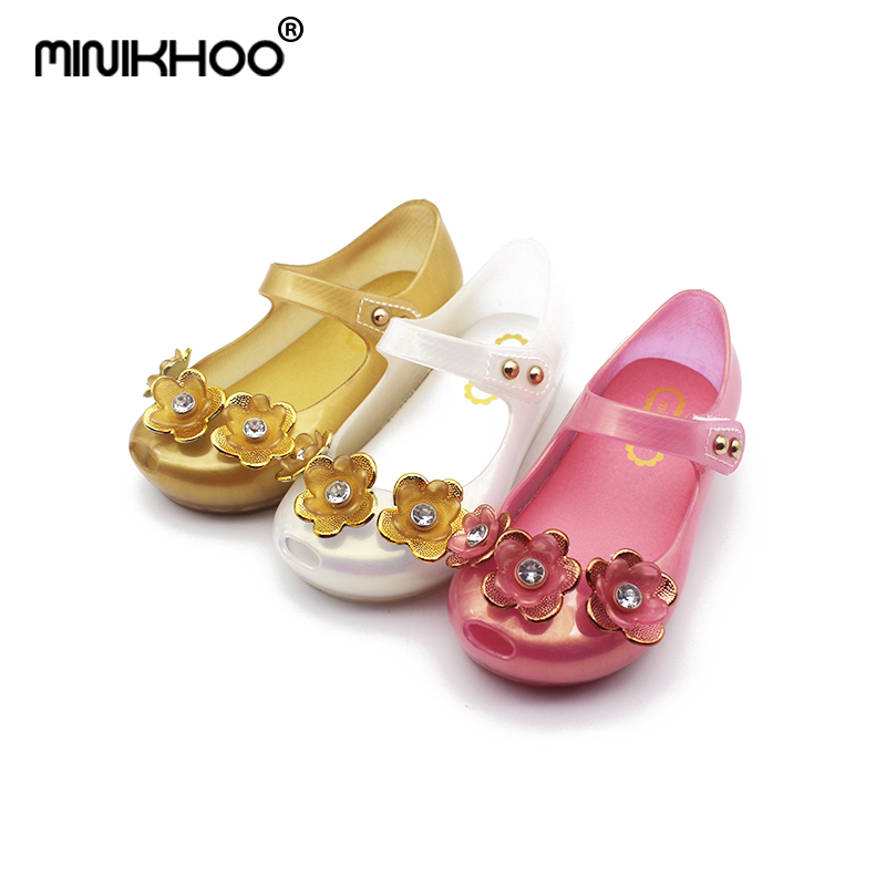 Mini Melissa 2018 LED Flash Flowers Jelly Girl Sandals Glowing Jelly Shoes Flashing Lights Children Princess Shoes Baby Sandals