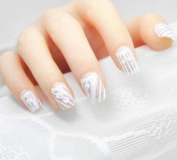 1sheet(12sticker) fullcover nail sticker hot white lace nails full ...