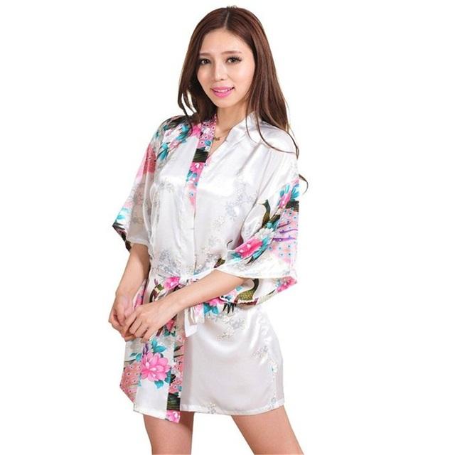 Nuevo Blanco Sexy Mini Señora Summer Silk Kimono Rayon Bath Robe Gown Yukata Vestido de Flores Ropa de Dormir Tamaño Sml XL XXL XXXL A013