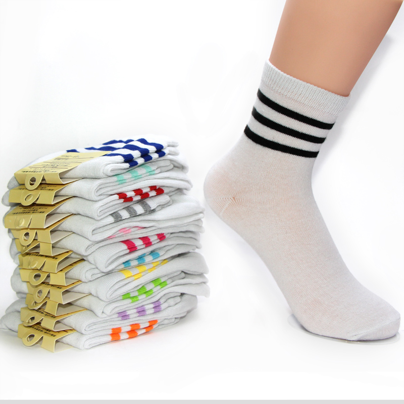 Quality Fashion Sweet Spring Autumn Winter Stripe White Solid Color Middle Long Sock Fit For 34-42 Yard Cute Happy Socks Women