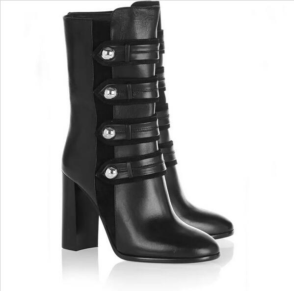 Cuir noir deux/quatre sangles bottes Zipper boutons Chunky talon bottine femmes chaussures femme automne Vintage court Botas