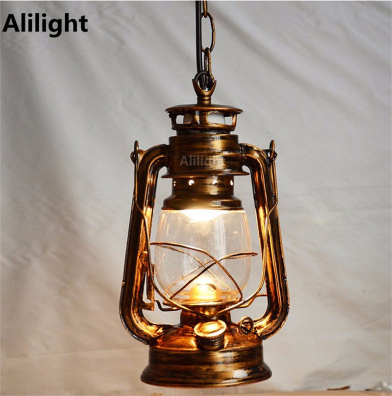 Antique Bronze Color Europe Retro Classic Kerosene Lantern Emergency Lamp Outdoor Lighting Hanging Light E27 Garden