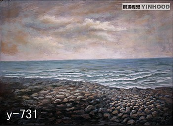 Pro 3m x 6m Hand Painted Muslin Photographers Backdrops, Sea and Beach Studio Background, Free by DHL/UPS/EMS/FEDEX