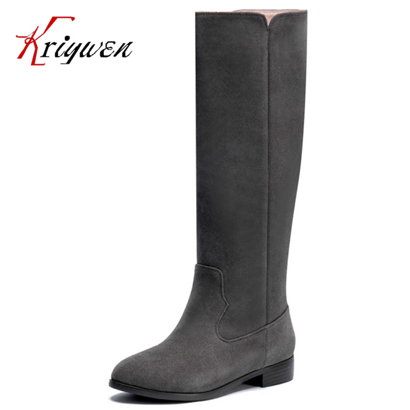 Big size 33-40 Winter cow split knight boots round toe side slip on comfortable flat motorcycle riding women boots Ladies shoes split side tee