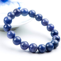 11mm Genuine Natural Tanzanite Blue Gemstone Bracelet For Woman Man Gift Round Beads Stretch Crystal Party Bracelet AAAAA
