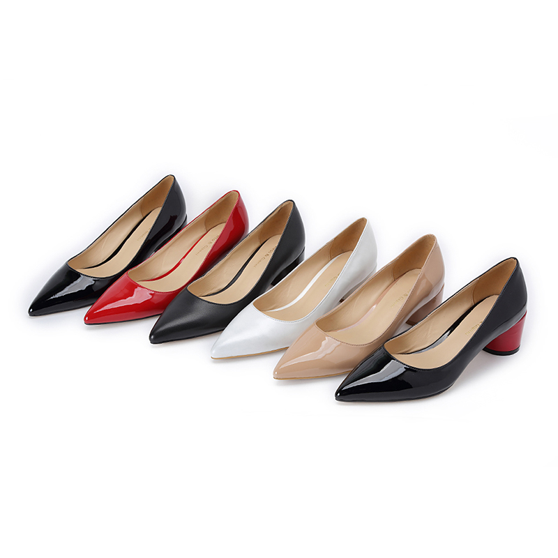 New Fashion Plus Size 35-43 Sexy Slip-On Elegant Round Toe Mid Heels Hot Sale Party Woman Shoes Women Black Patent Leather Pump women in the summer of 2018 the new patent leather nude wedges pointed toe pump work shoes leisure women plus size 35 40 a23