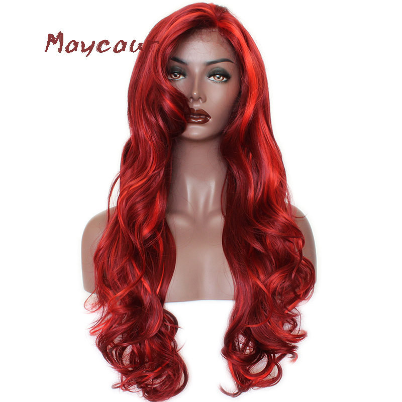 Red Color Long Wave Synthetic Lace Front Wigs Free Part Heat Resistant Ntural Hair Wigs For Women 180 Density