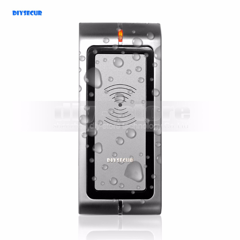 DIYSECUR Waterproof Metal Wiegand 26 125KHz EM RFID ID Card Reader For Access Control System Kit R4-EM security turnstile gate access control 1 meter mid range wiegand 34bits rfid card reader with 125khz low frequency