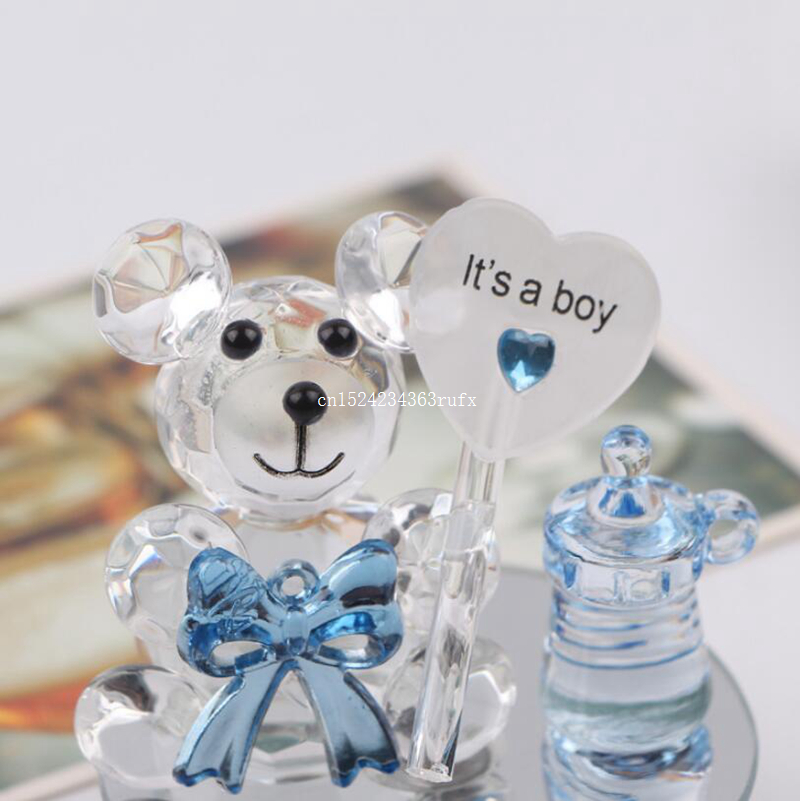 10pcs Crystal Bear Nipple Baptism Baby Shower Souvenirs Party Christening Giveaway Gift and Gifts For Guests