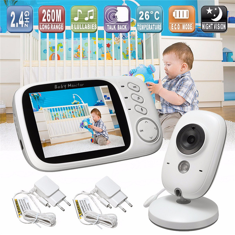 babykam baba eletronica detector fetal baby monitor video 3.2 inch IR Night Vision Baby Intercom Temperature Monitor Lullabies