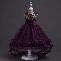 럭셔리 자수 리본 어린이 꽃 드레스 명주 레이어 킁 소녀 드레스 L428