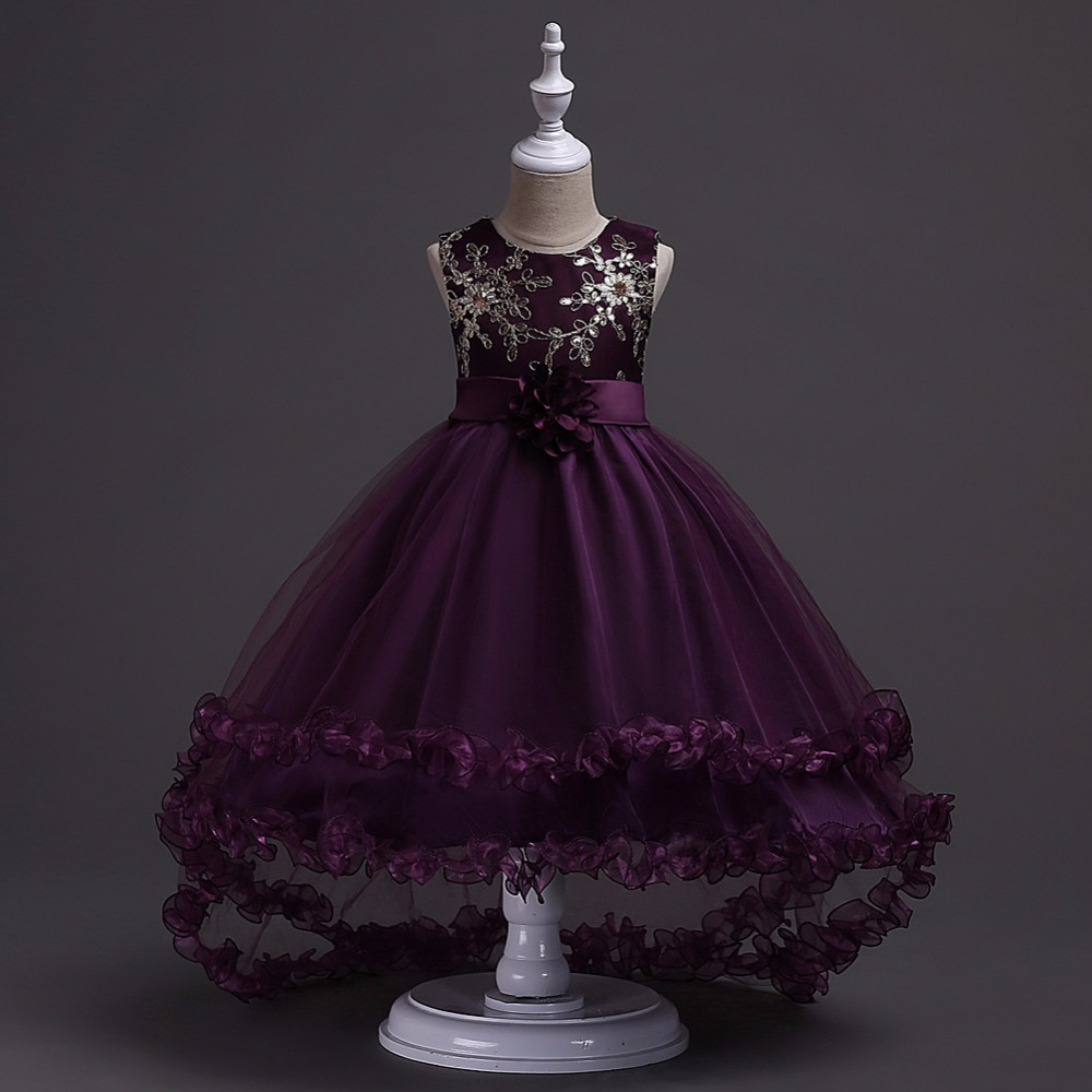 Luxury Embroidery Ribbon Children Flower Dress Tulle Layers Hemming Girl Dress L428 crane embroidery ribbon tape detail jacket