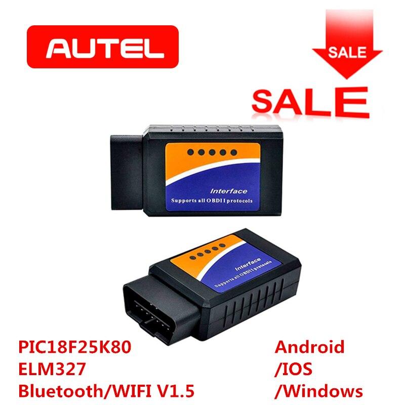 ELM327 OBD2 Bluetooth/WIFI V1.5 herramienta de diagnóstico del coche ELM 327 OBD II Chip PIC18F25K80 trabajo Android/IOS /Windows Diesel 12 V