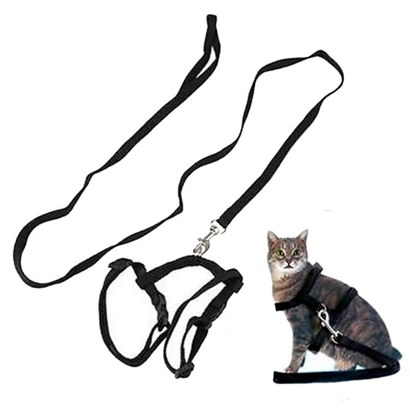 Adjustable Pet Nylon Harness Puppy Cat Vest Jean Leash Collar Strap