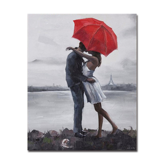 By Numbers Digital Diy Color Painting Red Umbrella Below P Ionately Couples Poster Wall P O Art Decor Canvas Unique Pictures