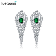 Luoteemi заявление Дизайн крошечные Яркий Камень CZ длинные Висячие серьги Свадебные Brincos Серьги Jewelry Bijoux