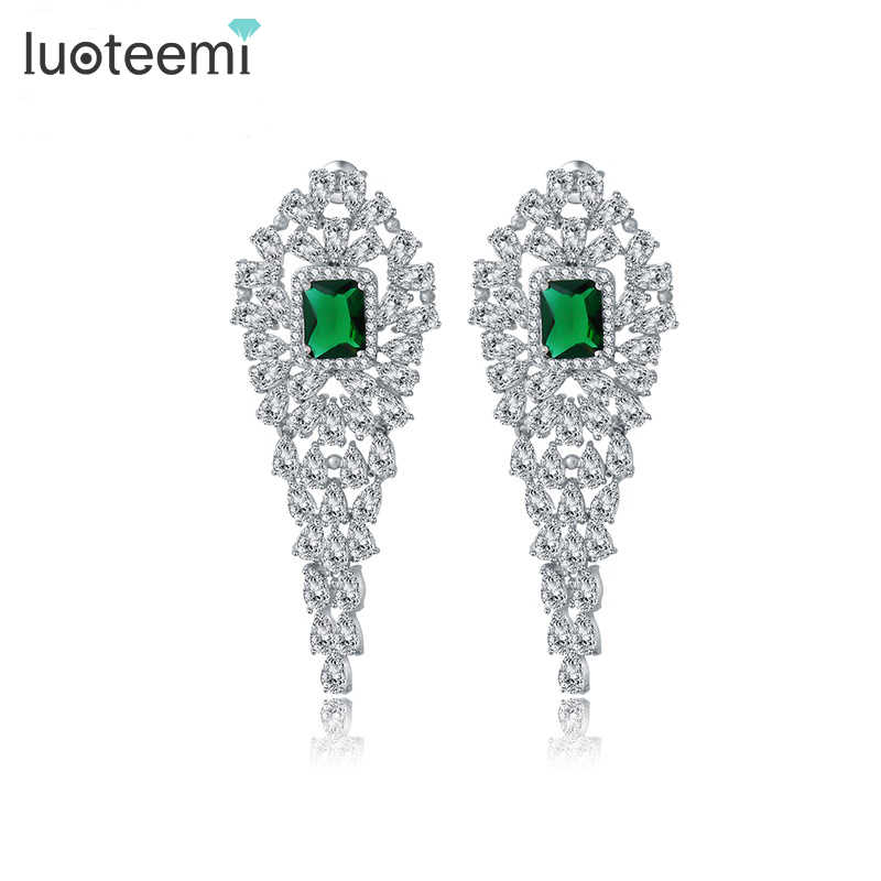 LUOTEEMI Statement Design Tiny Bright CZ Stone Long Drop Earrings Bridal Wedding Brincos Earrings Jewelry Bijoux