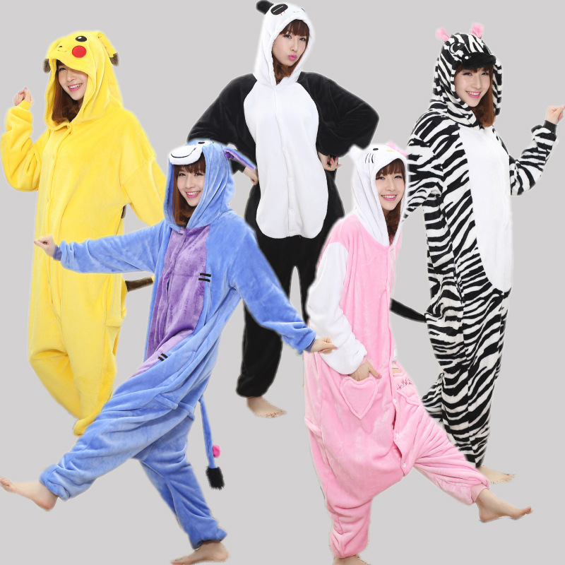 Autumn Spring Flannel Lovers Couples Men Women Animal Pajamas One Piece Cartoon Sleepwear Kugurumi Cheap Adult Animal Onsies cartoon animal women watch