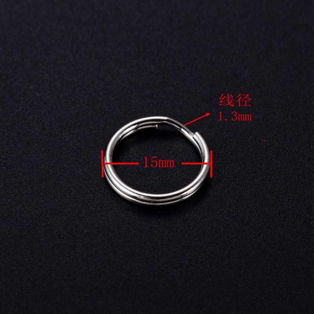 Alta qualidade niquelado 1.3x15mm metal anel chave charme Chaveiro Pendurado cadeia Chave Charme Cadeia de Acessórios Anel 10 pcs