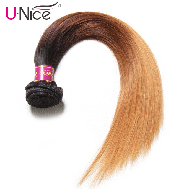 Unice Hair Color 1b427 Peruvian Straight Hair Weave 1 Piece Ombre