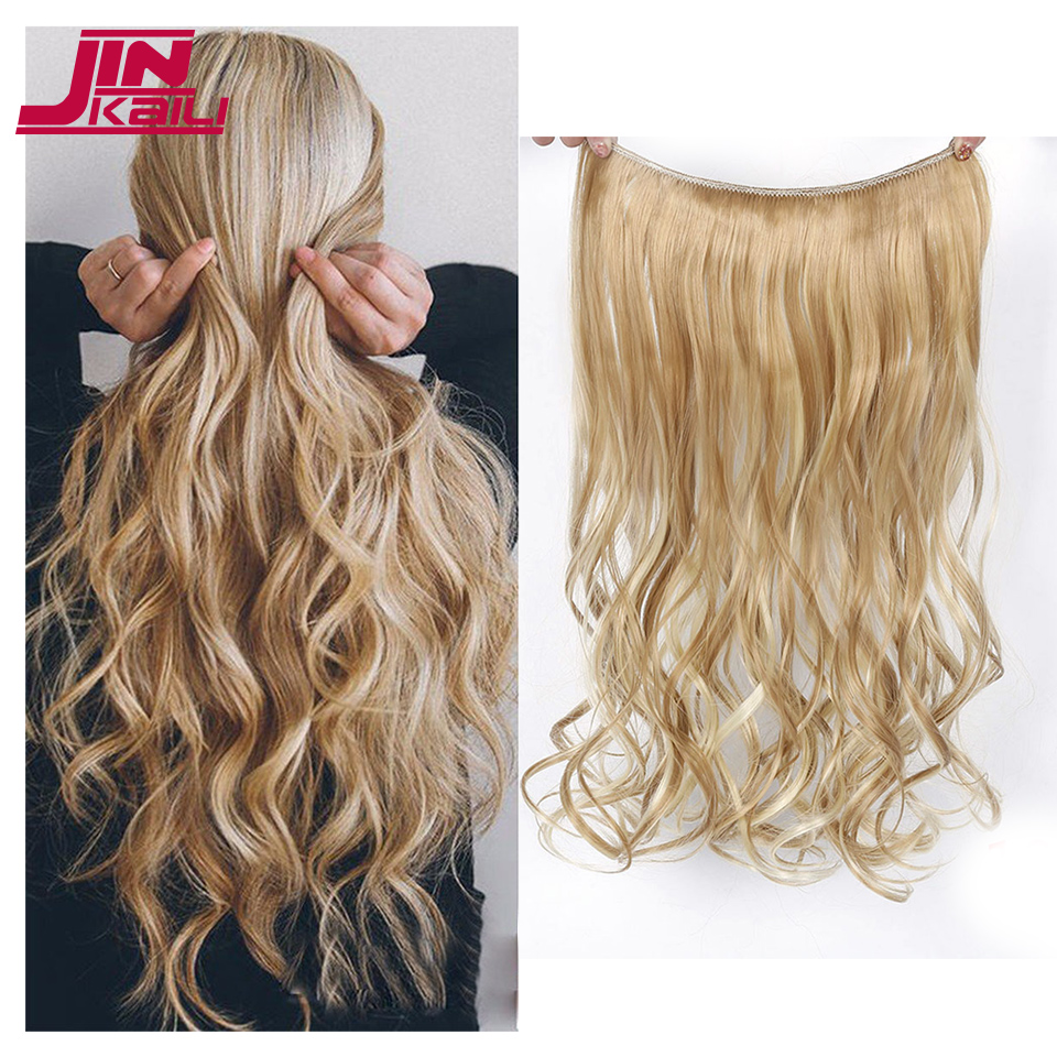 JINKAILI 22 Inch Fish Line Invisible Wire No Clips in Hair Extensions Fashion Synthetic High Temperature Fiber Hair Extensions