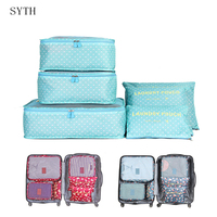 Syth 6 pçs organizador de viagem sacos de armazenamento portátil bagagem organizador roupas arrumadas bolsa mala de embalagem saco de lavanderia caso de armazenamento Sacos de armazenamento     -