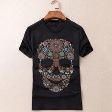 European summer short sleeved t-shirt men's Mercerized Cotton skull and body bottom shirt