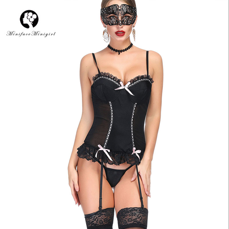 Minifaceminigirl Women's Lace Bustier Sexy Lingerie Overbust Corset Lace up Back Underwear Corset And Bustiers Plus Size Bustier