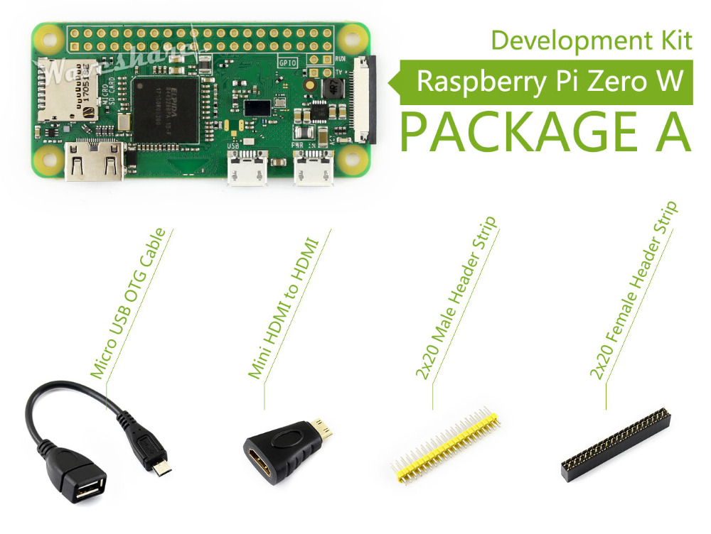 Raspberry Pi Zero W Package A Basic Development Kit Mini HDMI to HDMI Adapter Micro USB OTG Cable and 2x20-pin pinheader strips raspberry pi zero w package e basic development kit 16gb micro sd card power adapter 2 13inch e paper hat and basic components