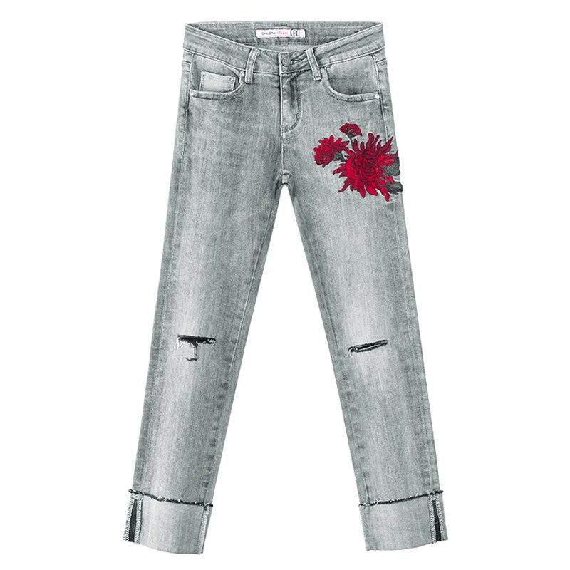 Casual Mezclilla Mujer Rectos Primavera Esposas De Gris Bordado Para Pantalones Agujero Rasgado Lavado Verano Vaqueros Slim TCq1xwfE