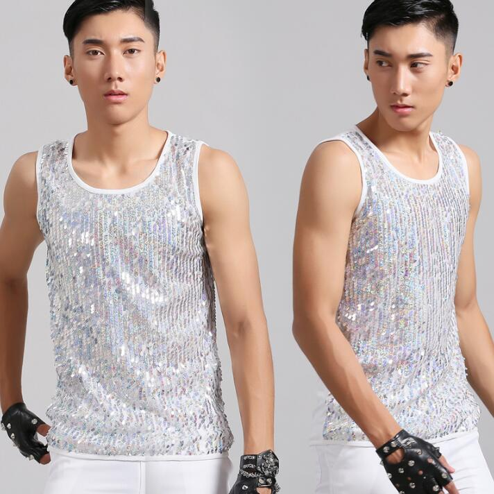 Summer style personality slim male sleeveless sequin vest men punk rock sexy tight-fitting slim singer dance stage star fashion