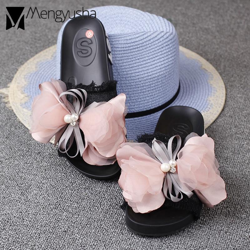 Detail Feedback Questions about lace bow knot denim sandals women pink  flower decorate bowtied platform sandals female pearl flip flops tassel  jeans shoes ... 6b20bea41fb7