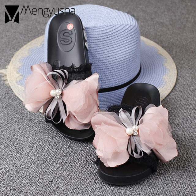 0cb4db61e lace bow-knot denim sandals women pink flower decorate bowtied platform  sandals female pearl flip flops tassel jeans shoes women