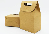Wedding Party Gift Candy Chocolate Packing Vintage Kraft Boxes With Handle Magictape Kraft Paper Handmade Craft