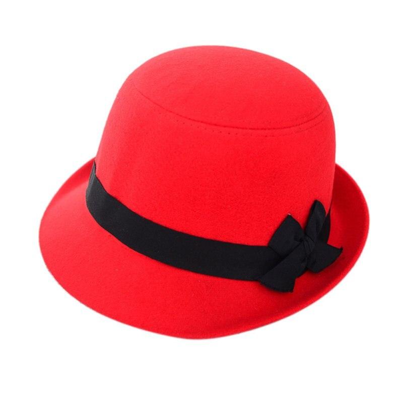 100% Wahr Großhandel Frauen Damen Bowknot Strand Retro Fühlte Faux Woll Fedora Hüte Bowler Derby Kappen