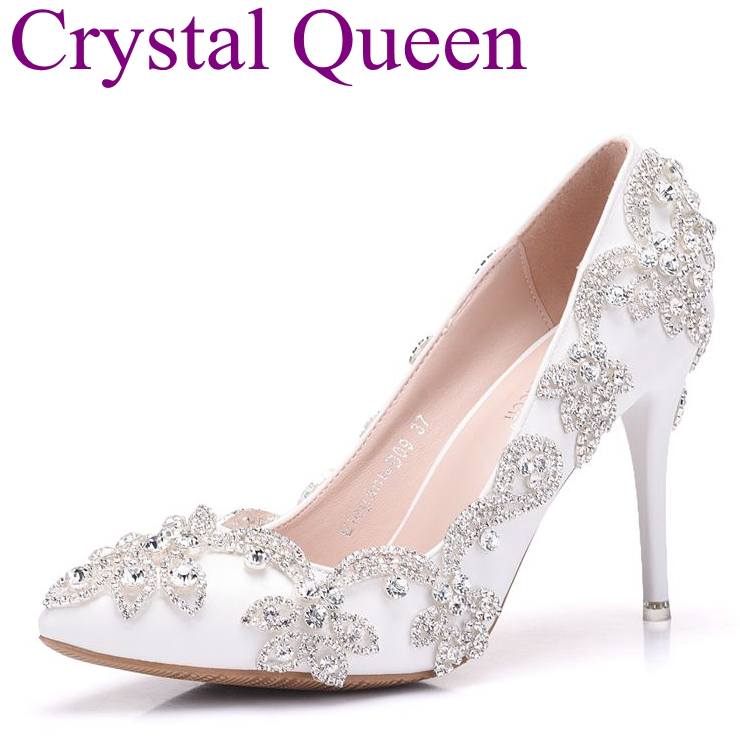 Spring white rhinestone wedding shoes high heeled bridal shoes elegant thin heels pumps pointed toe high