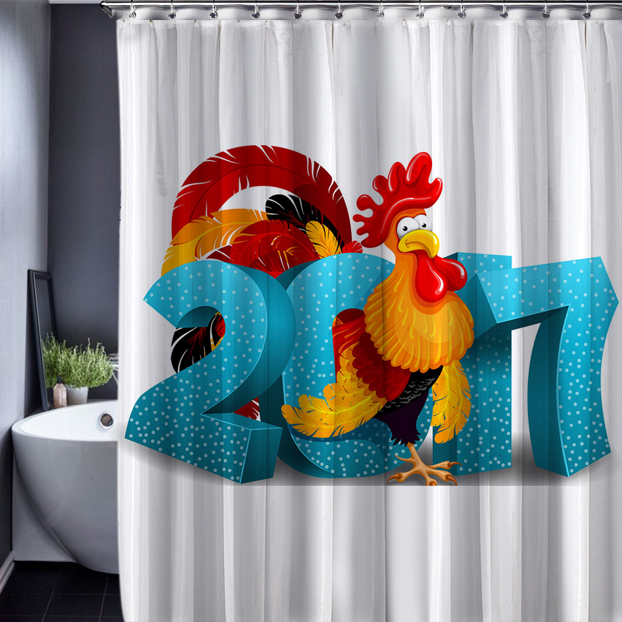 Customized Christmas Day New Year Of Rooster Cartoon Shower Curtain ...