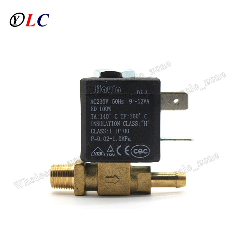 JYZ-3T Normally Closed Cannula N/C 2/2 Way Valve AC 230V G1/8' Brass Steam Air Generator Water Solenoid Valve Coffee Makers brass connector 2 way welding machine rotatable solenoid valve ac 24v