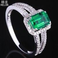 Твердые 10 К белого золота Обручение Свадебные природные бриллианты кольцо 0.85ct лечение драгоценный изумруд Элегантные украшения кольцо Изу