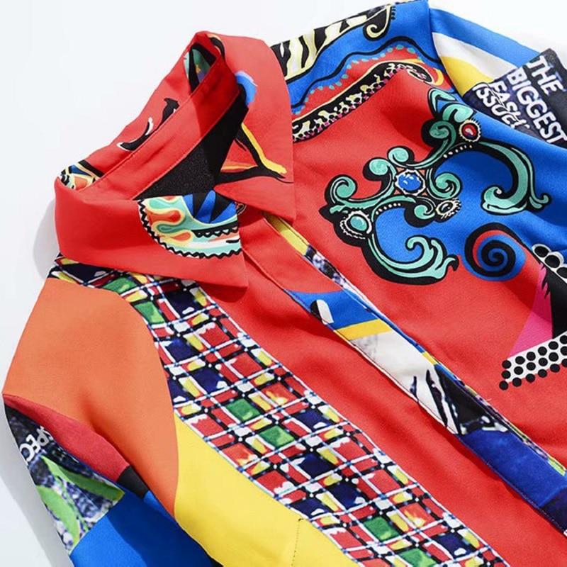 Col Longue Imprimer Mode Turn Robe down Tunique Superbe 2018 Automne Street Chemise Dames Casual Bouton Européenne High 4AwcfvX7qg