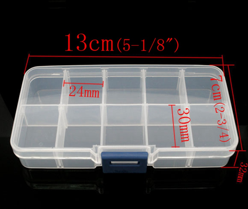 13cm7cm23cm High Quality 10 Grids Jewelry Organizer Tool Box Bead
