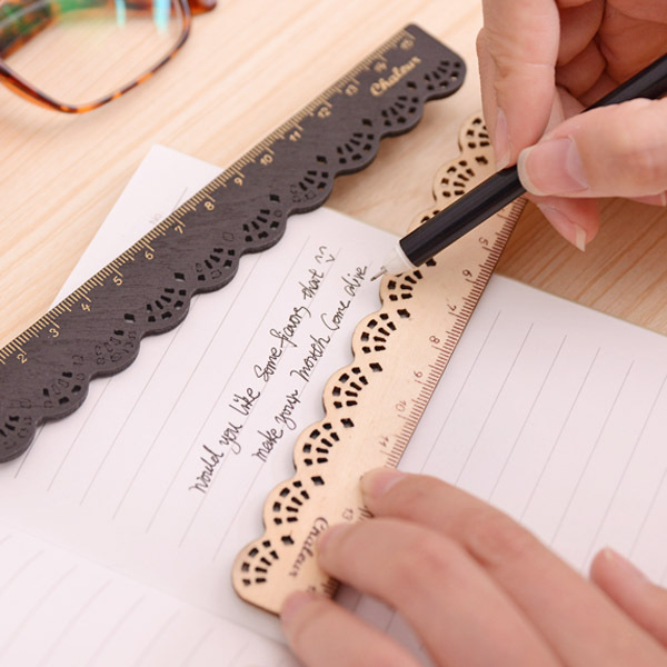 2 Pcs Korea Zakka Kawaii Cute Stationery Lace Brown Wood Ruler Sewing Ruler Office School Accessories
