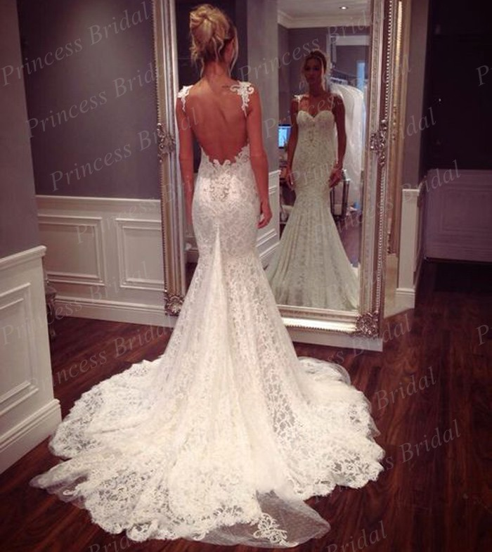 Sexy lace wedding dress mermaid sweetheart open back sweep for Vintage lace wedding dress open back