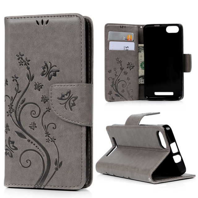 For Wiko Lenny 3 Case Cover Fashion Flip Stand PU Leather Wallet Card Case 3D Emboss Flower Butterfly Capa For Wiko Lenny3