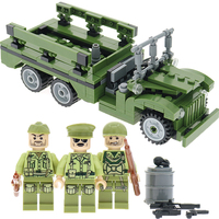WC63 Carrier Vehicle Model 255Pcs WW2 US Classic Military Dodge Army Buidling Block With 3 Soldiers