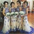 Exquist Real Laço Azul Vestido Da Dama de honra Festa de Casamento Vestido de Robe de Demoiselle D'Honneur