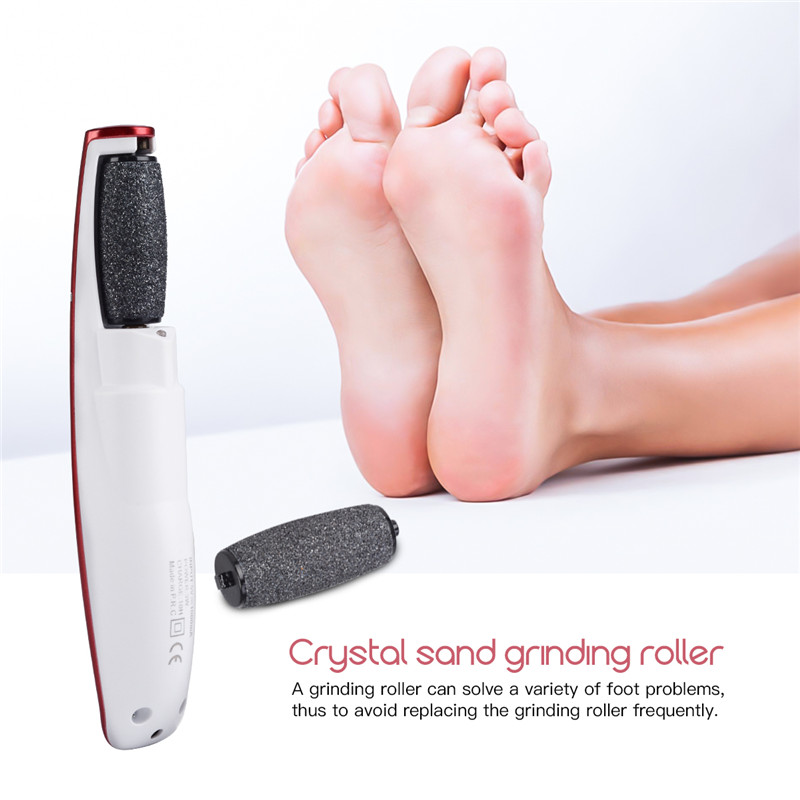 Kemei Callus Remover Electronic Foot File Pedicure Smooth Feet Care Tool Peeling Dead Skin Removal with Replacement Roller Head