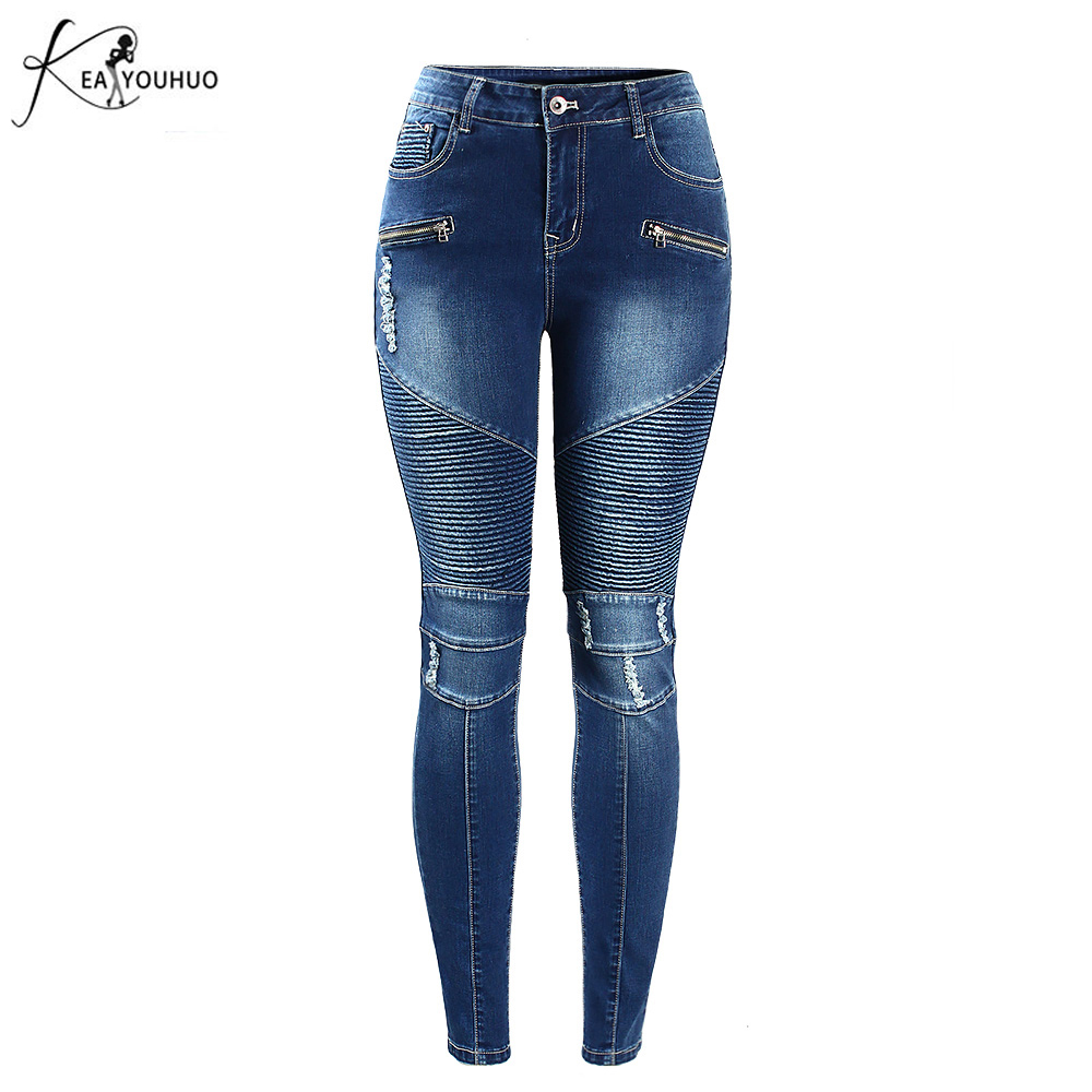 Nye 2018 Summer High Waist Bukser Jeans Mujer Denim Patchwork Kæreste Jeans For Women Blue Ripped Ladies Lynlås Skinny Bukser