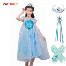 PaMaBa 3-10T Kids Elsa Cosplay Costumes Princess Fantasy Dresses with Train Girls Elsa Outfit Halloween Birthday Elsa Dress-up(China)